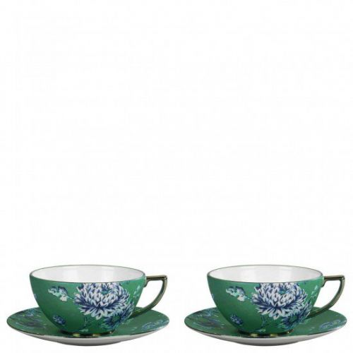 Jasper Conran Chinoiserie Green Teacup and Saucer (Set of 2), Gift Boxed